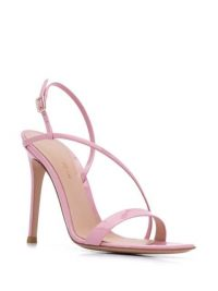 Gianvito Rossi Manhattan 100mm slingback sandals / pink patent asymmetric strappy slingbacks