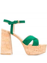 GIANVITO ROSSI platform open-toe sandals / green suede platforms