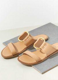 MINT VELVET Gina Camel Leather Sandals | LUXURY LOOK SUMMER FLATS