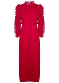 GIVENCHY Raspberry ruffle-trimmed velvet gown ~ long sleeved high neck gowns