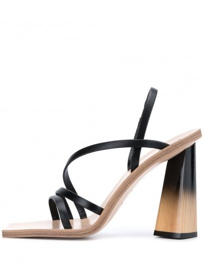 GIVENCHY sculpted heel sandals / strappy square toe sandal - flipped
