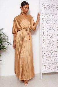 THE FASHION BIBLE GOLD CAPE SLEEVE SATIN MAXI DRESS – long wrap style dresses