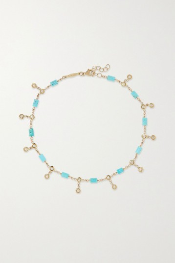 JACQUIE AICHE 14-karat gold, turquoise and diamond anklet | blue stone anklets