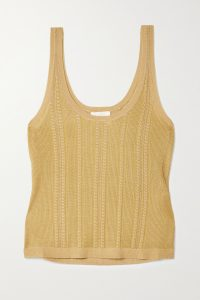 CHLOÉ Metallic cable-knit silk tank