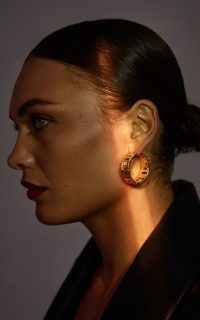 Leda Madera Goldie Crystal-Embellished Gold-Plated Brass Hoop Earrings / glamorous hoops