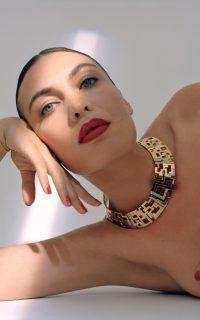 Leda Madera Goldie Crystal-Embellished Gold-Plated Brass Necklace ~ glamorous choker necklaces