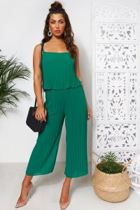 THE FASHION BIBLE GREEN CULOTTE FRILL JUMPSUIT – cami style jumpsuits