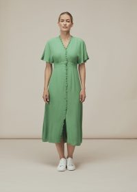 WHISTLES ELLA V NECK DRESS GREEN ~ day dresses