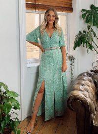 MISS SELFRIDGE Green Minnie Button Through Maxi Dress – front split summer dresses