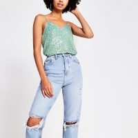 RIVER ISLAND Green sequin cami top – sequinned camisoles