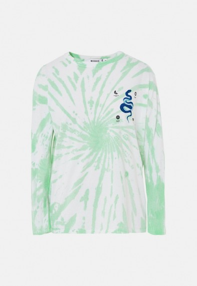 MISSGUIDED green tie dye snake graphic t shirt / long sleeve tee