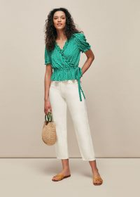 WHISTLES ELEPHANT PRINT WRAP TOP ~ green frill trimmed tops