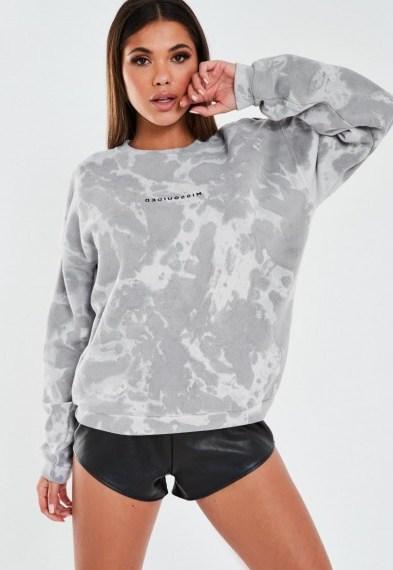 MISSGUIDED grey tie dye missguided sweatshirt / logo sweat tops - flipped
