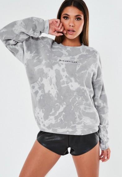 MISSGUIDED grey tie dye missguided sweatshirt / logo sweat tops