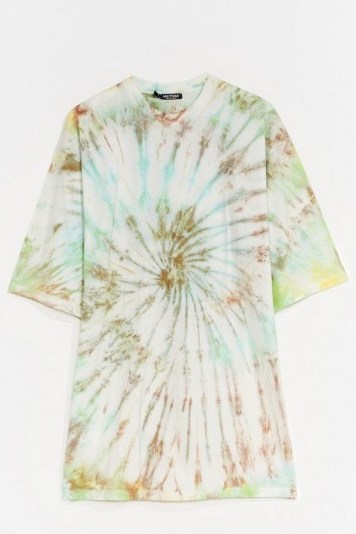 NASTY GAL Groovy Thing Goin' Baby Tie Dye Tee Dress / slogan t-shirt dresses - flipped