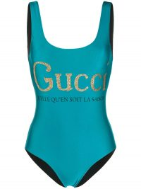 GUCCI glitter logo swimsuit in blue ~ designer swimwear