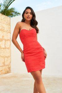 Lavish Alice hand pleated chiffon sweetheart mini dress in coral | bright strapless bodycon