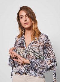 MINT VELVET Harley Animal Print Blouse | sleeve-tie detail blouses