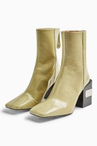 TOPSHOP HARRIS Lime Green Block Boots – chunky heels – square toes