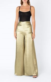 ROLAND MOURET HARRISON TROUSER Gold / metallic wide leg trousers