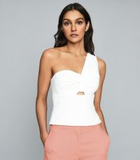 REISS HAZEL ONE-SHOULDER BODYCON TOP WHITE ~ summer evening tops