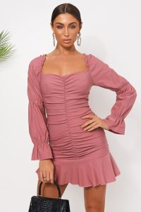 THE FASHION BIBLE HENRIK PINK PUFF SLEEVE MINI DRESS – ruched flippy-hem dresses