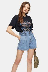 Topshop High Waist Paperbag Waist Denim Shorts