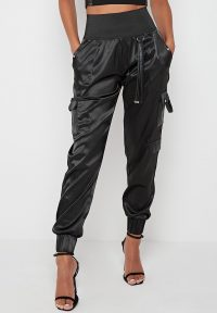 Manière De Voir HIGH WAISTED SATIN CARGO TROUSERS BLACK ~ cuffed pants