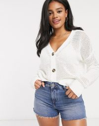Hollister cropped button detail cardigan in white
