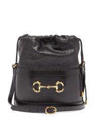 GUCCI 1955 Horsebit drawstring leather bucket bag ~ black shoulder bags