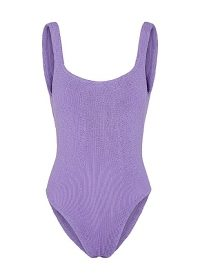 HUNZA G Classic lilac seersucker swimsuit ~ purple swimsuits