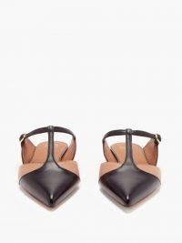 MALONE SOULIERS Imogen T-bar leather mules ~ flat heel pointy toe t-bars