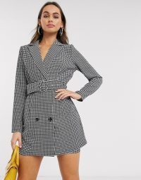 In The Style x Stephsa blazer dress with belt detail in houndstooth print