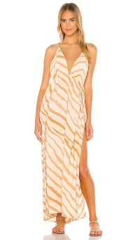 Indah River Triangle Plunge Wrap Skirt Maxi Dress