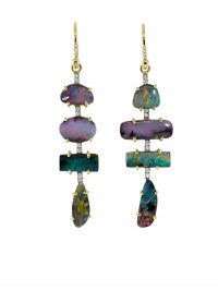 Irene Neuwirth 18kt yellow gold Gemmy Gem drop earrings / opal and diamond drops
