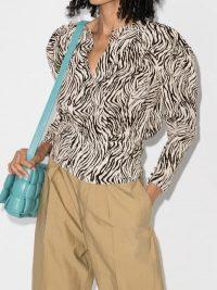 Isabel Marant Pouf Sleeve Zebra Print Shirt – monochrome blouses