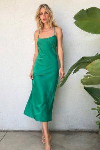 NASTY GAL It Just Flows Satin Midi Dress Bright Green – cross back cami dresses