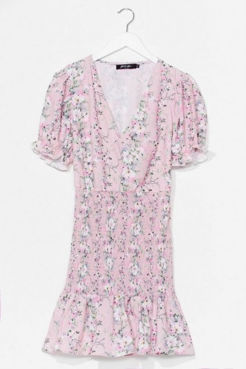 Nasty Gal It's Always a Bud Time Floral Mini Dress Pink