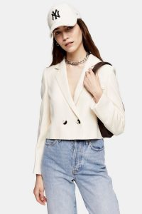 TOPSHOP Ivory Crop Double Breasted Suit Blazer – cropped jacket
