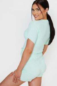 JAC JOSSA MINT RIBBED SHORT KNITTED SET