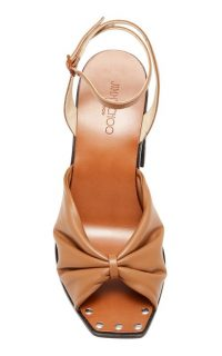 Jimmy Choo Jasie Gathered Leather Sandals ~ front knot block heel sandal