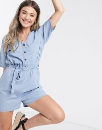 JDY chambray playsuit in blue   lightweight denim playsuits