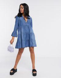 JDY denim smock dress in blue   tiered day dresses