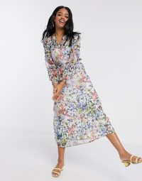 JDY midi shirt dress in smudge floral