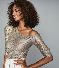 JESSICA METALLIC ASYMMETRIC TOP GOLD ~ semi sheer off shoulder tops