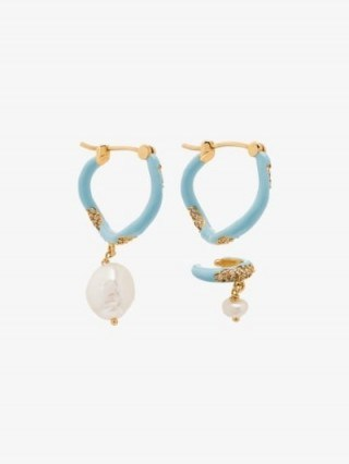 Joanna Laura Constantine Waves Gold-Plated Pearl Hoop Earrings ~ mismatched earring set - flipped