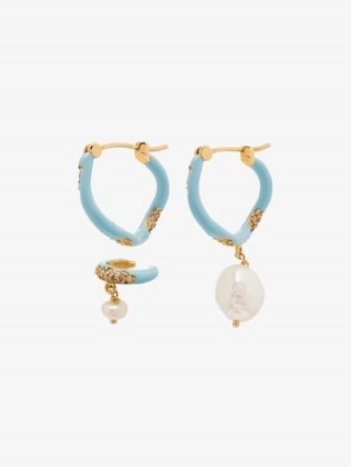 Joanna Laura Constantine Waves Gold-Plated Pearl Hoop Earrings ~ mismatched earring set