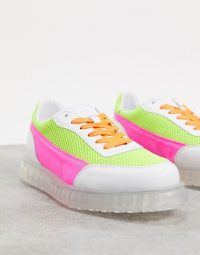 Joshua Sanders low top trainer with transparent sole in neon pink and yellow / bright trainers