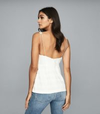 REISS JUNE WRAP FRONT TOP OFF WHITE ~ strappy back tops