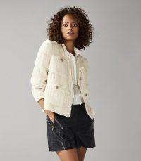 REISS JUNE SHORT BOUCLE JACKET WHITE ~ classic tweed jackets